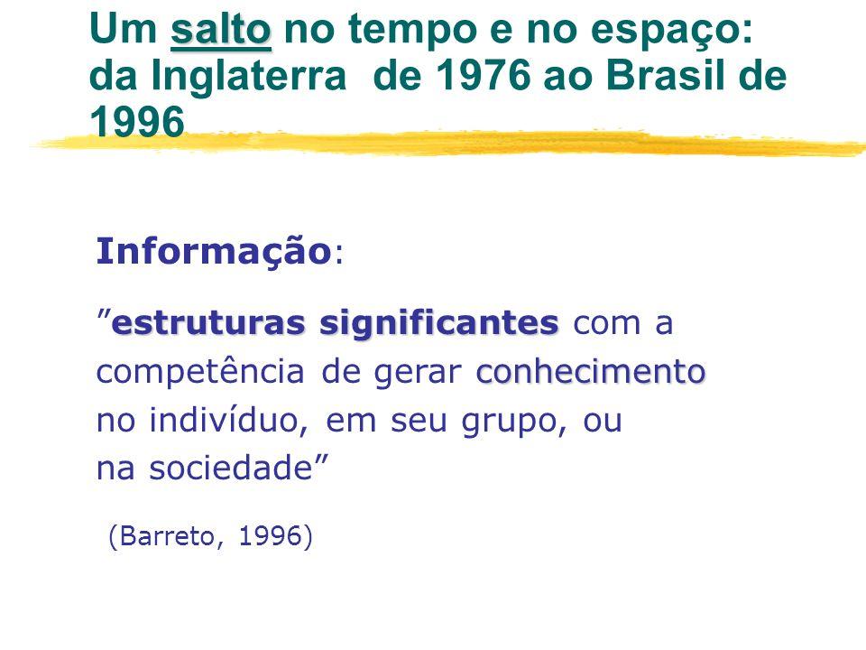 salto Um salto no tempo e no espaço: da Inglaterra de 1976 ao Brasil de 1996 Informação : estruturas significantes conhecimentoestruturas significante