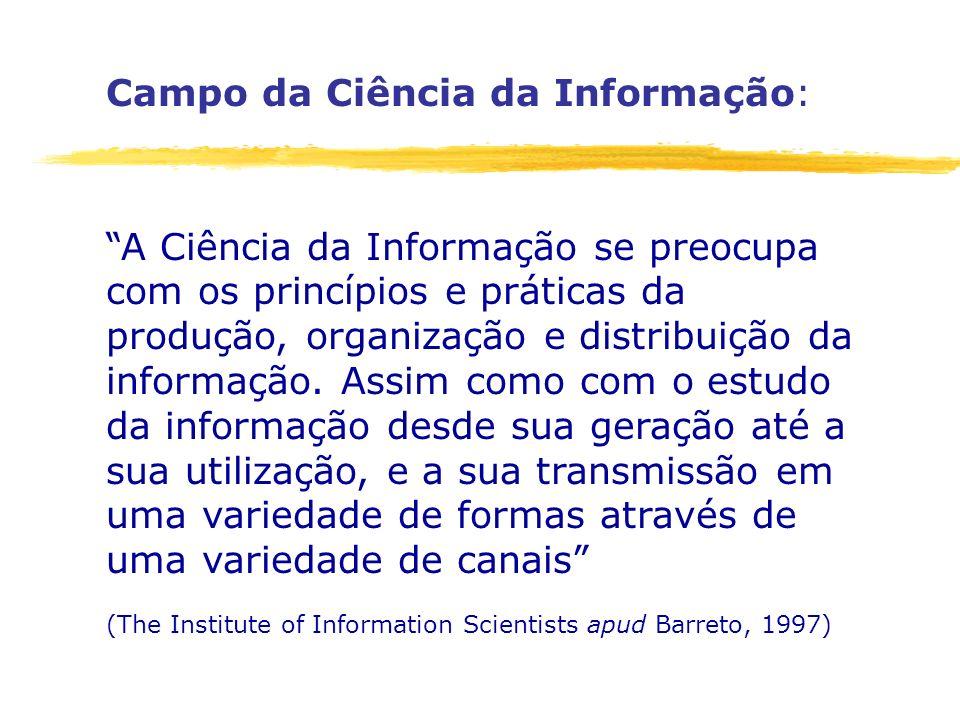 Campo da Ciência da Informação: A Ciência da Informação se preocupa com os princípios e práticas da produção, organização e distribuição da informação