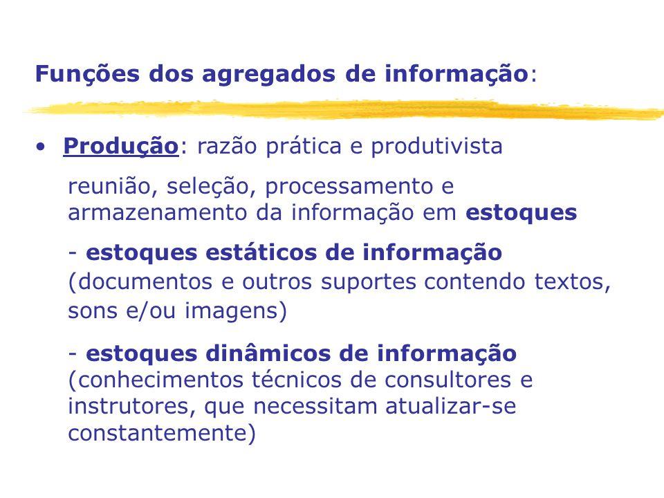 Funções dos agregados de informação : Produção: razão prática e produtivista reunião, seleção, processamento e armazenamento da informação em estoques