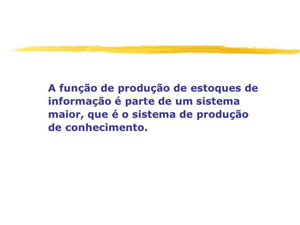 A função de produção de estoques de informação é parte de um sistema maior, que é o sistema de produção de conhecimento.