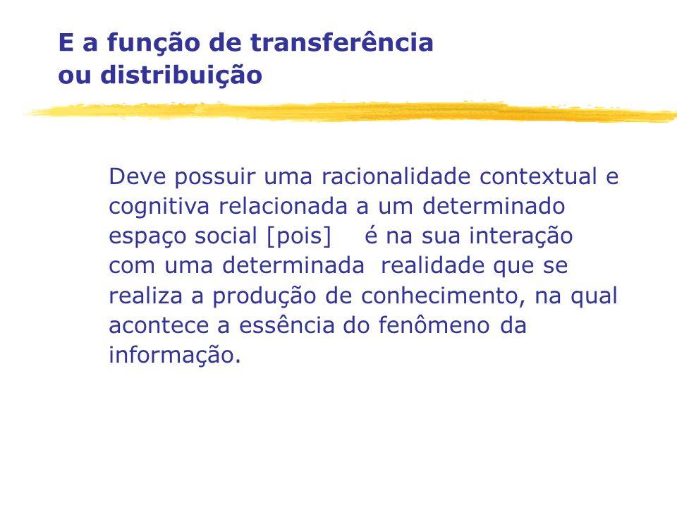 E a função de transferência ou distribuição Deve possuir uma racionalidade contextual e cognitiva relacionada a um determinado espaço social [pois] é