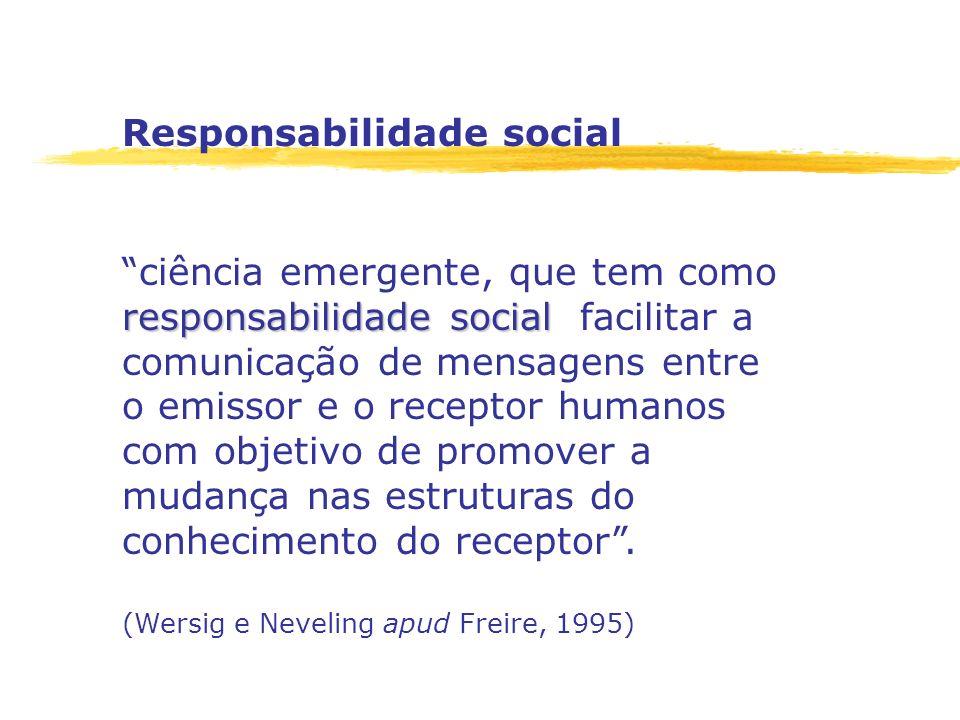 Responsabilidade social responsabilidade social ciência emergente, que tem como responsabilidade social facilitar a comunicação de mensagens entre o e