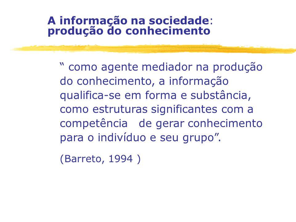 A informação na sociedade: produção do conhecimento como agente mediador na produção do conhecimento, a informação qualifica-se em forma e substância,