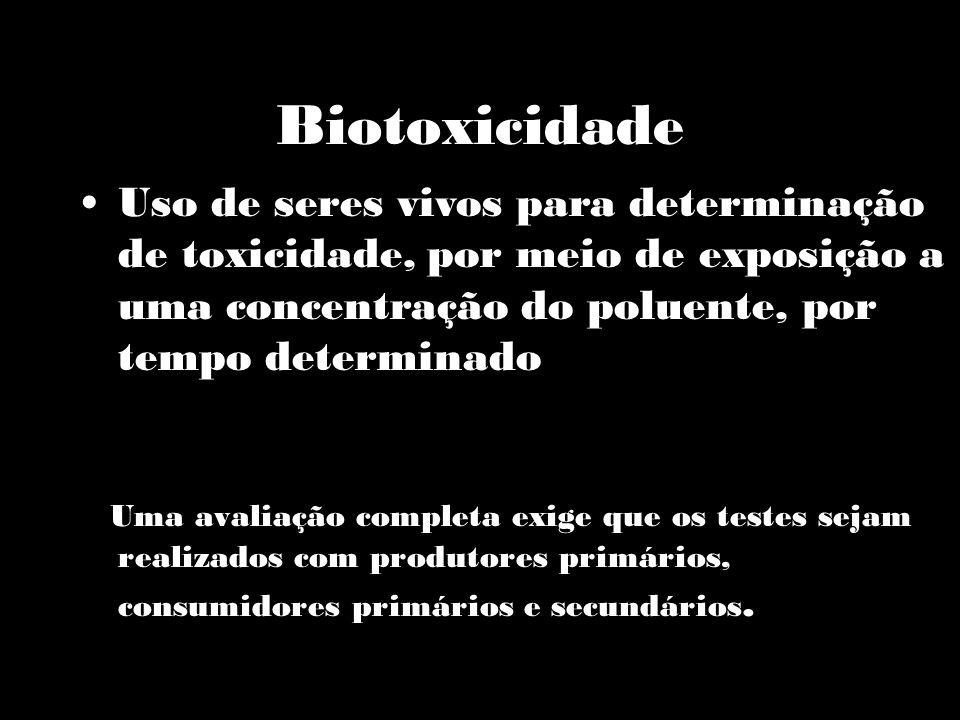 Biotoxicidade Uma avaliação completa exige que os testes sejam realizados com produtores primários, consumidores primários e secundários. Uso de seres