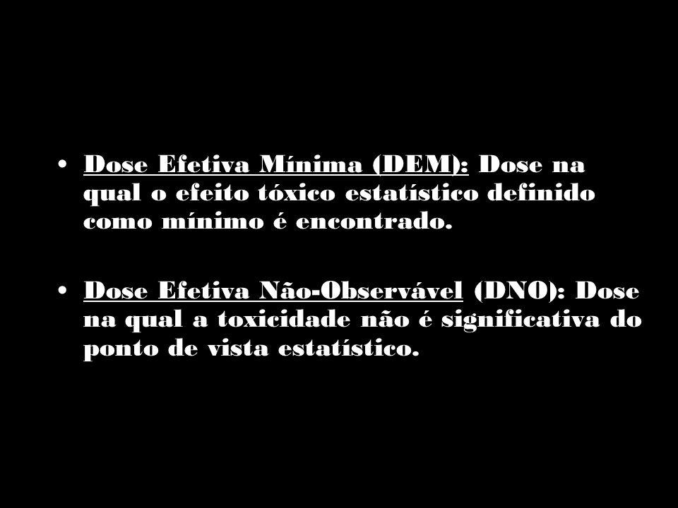Dose Efetiva Mínima (DEM): Dose na qual o efeito tóxico estatístico definido como mínimo é encontrado. Dose Efetiva Não-Observável (DNO): Dose na qual
