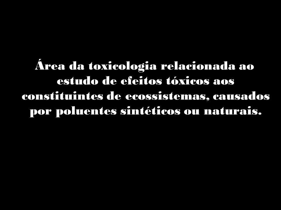 O que é ? Área da toxicologia relacionada ao estudo de efeitos tóxicos aos constituintes de ecossistemas, causados por poluentes sintéticos ou naturai