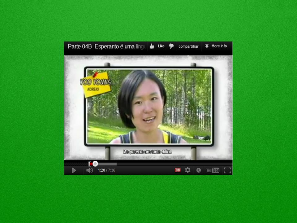 A seguir clique no vídeo e assista ao depoimento de jovens de vários paises, contando em quanto tempo eles aprenderam esperanto.
