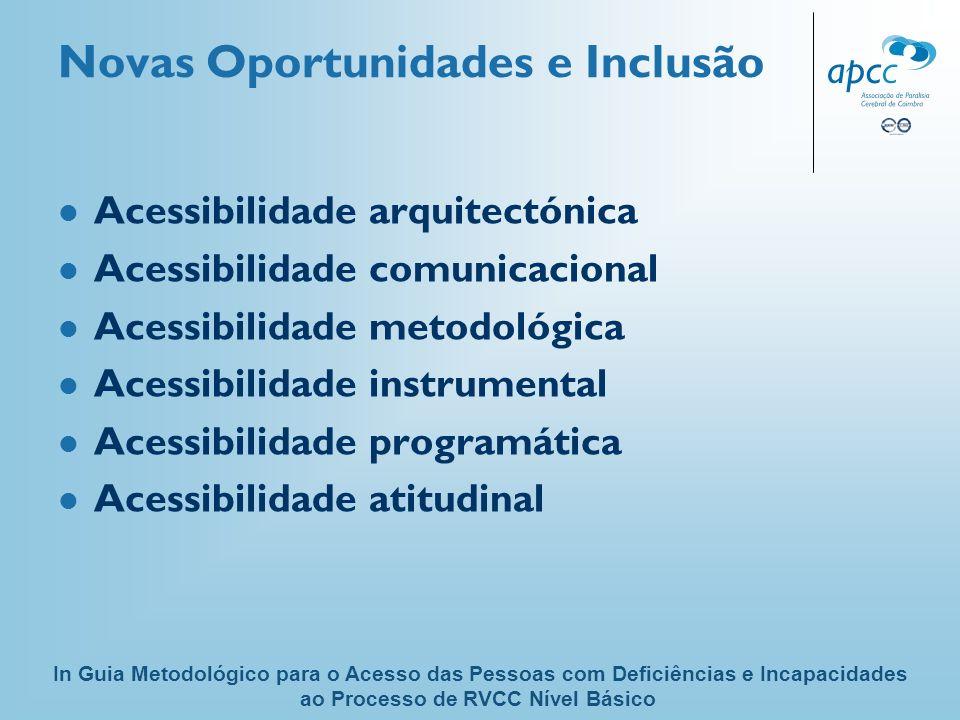 Novas Oportunidades e Inclusão Acessibilidade arquitectónica Acessibilidade comunicacional Acessibilidade metodológica Acessibilidade instrumental Ace