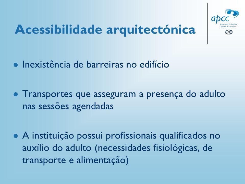 Acessibilidade arquitectónica Inexistência de barreiras no edifício Transportes que asseguram a presença do adulto nas sessões agendadas A instituição