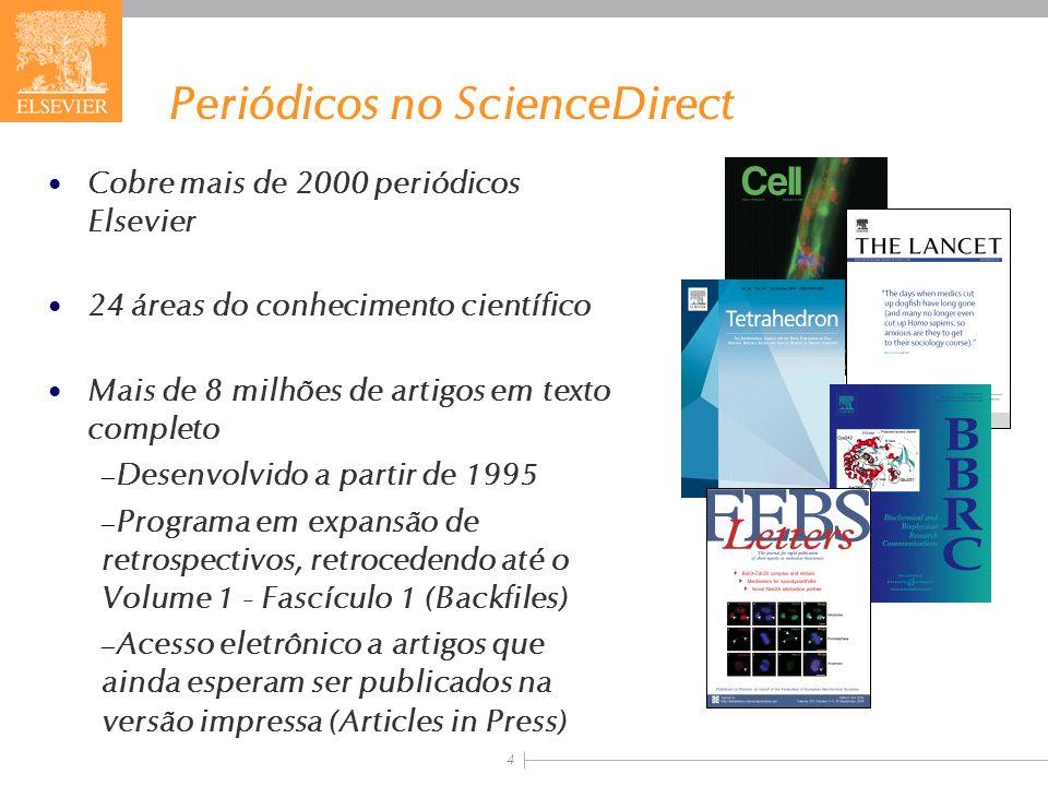 4 Periódicos no ScienceDirect Cobre mais de 2000 periódicos Elsevier 24 áreas do conhecimento científico Mais de 8 milhões de artigos em texto complet