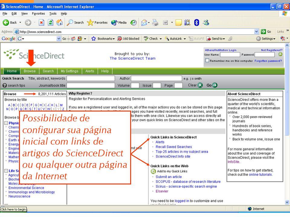 9 Possibilidade de configurar sua página inicial com links de artigos do ScienceDirect ou qualquer outra página da Internet