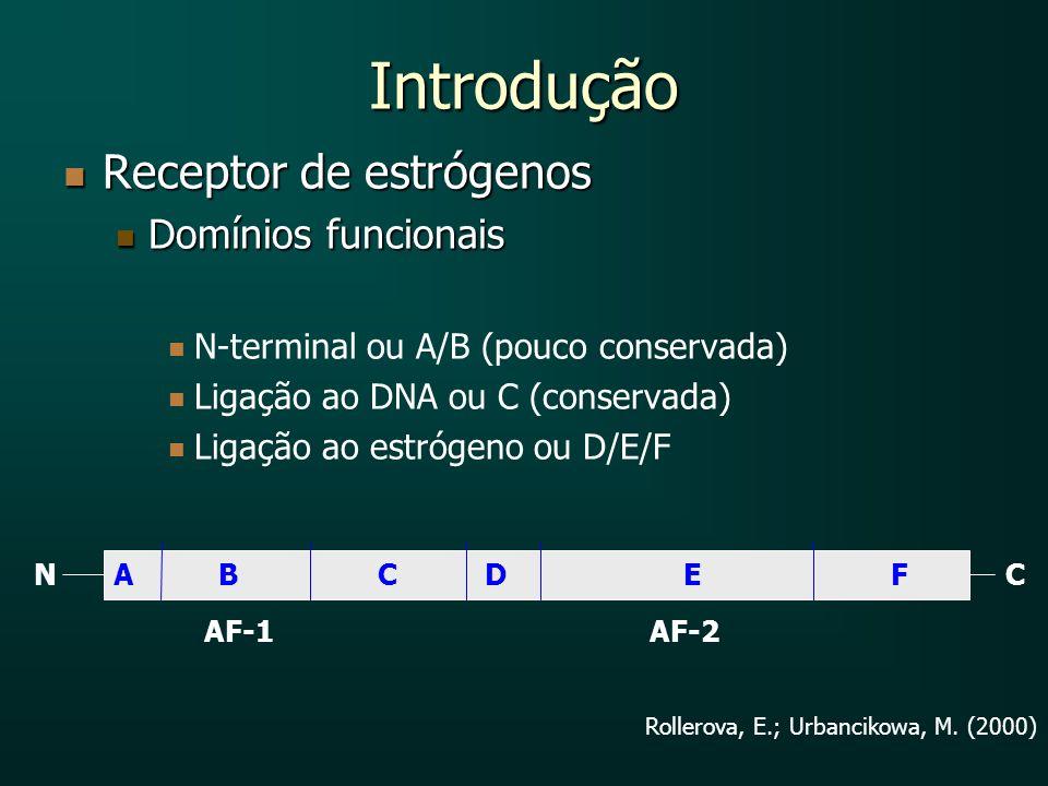Introdução Receptor de estrógenos Receptor de estrógenos Domínios funcionais Domínios funcionais N-terminal ou A/B (pouco conservada) Ligação ao DNA o