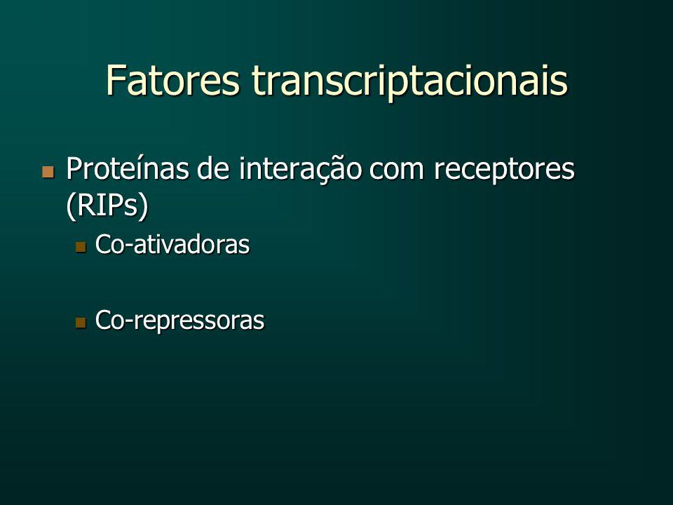 Fatores transcriptacionais Proteínas de interação com receptores (RIPs) Proteínas de interação com receptores (RIPs) Co-ativadoras Co-ativadoras Co-re