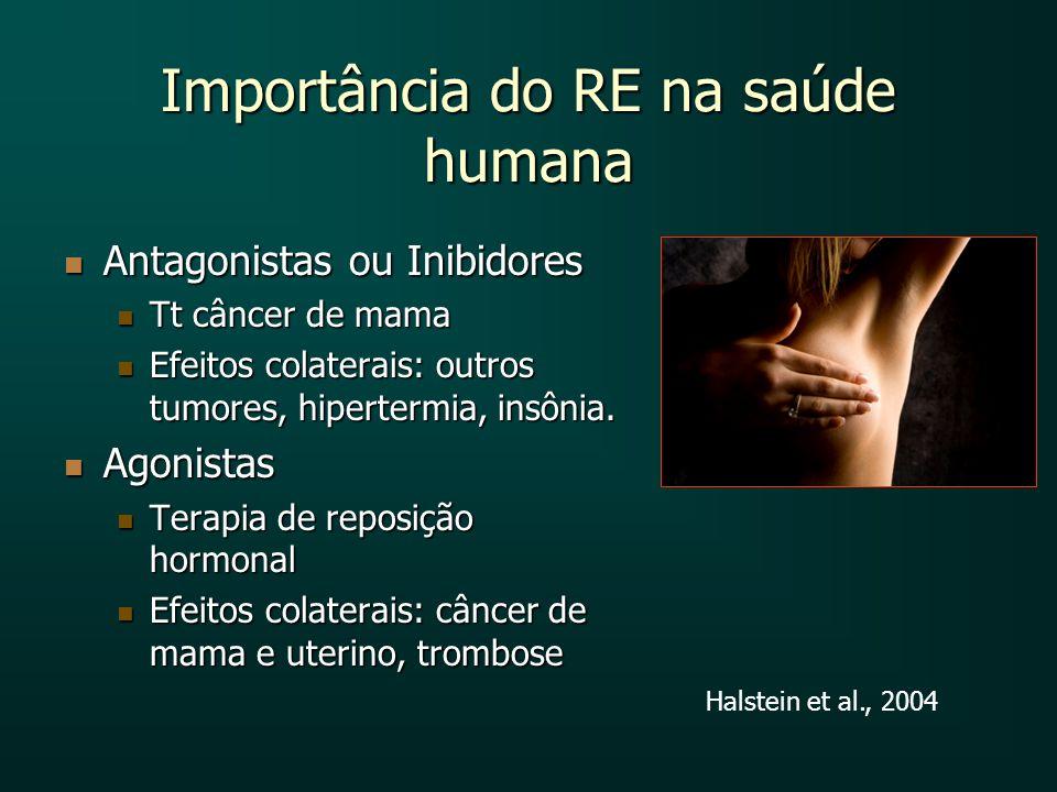 Importância do RE na saúde humana Antagonistas ou Inibidores Antagonistas ou Inibidores Tt câncer de mama Tt câncer de mama Efeitos colaterais: outros