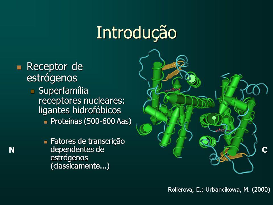 Introdução Receptor de estrógenos Receptor de estrógenos Superfamília receptores nucleares: ligantes hidrofóbicos Superfamília receptores nucleares: l