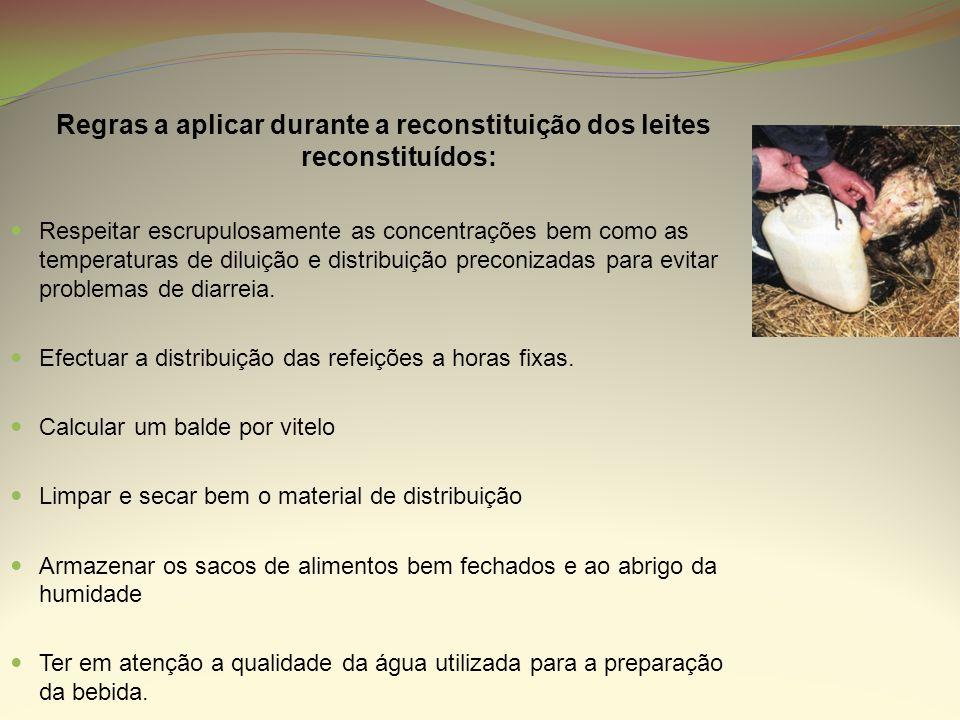 Regras a aplicar durante a reconstituição dos leites reconstituídos: Respeitar escrupulosamente as concentrações bem como as temperaturas de diluição