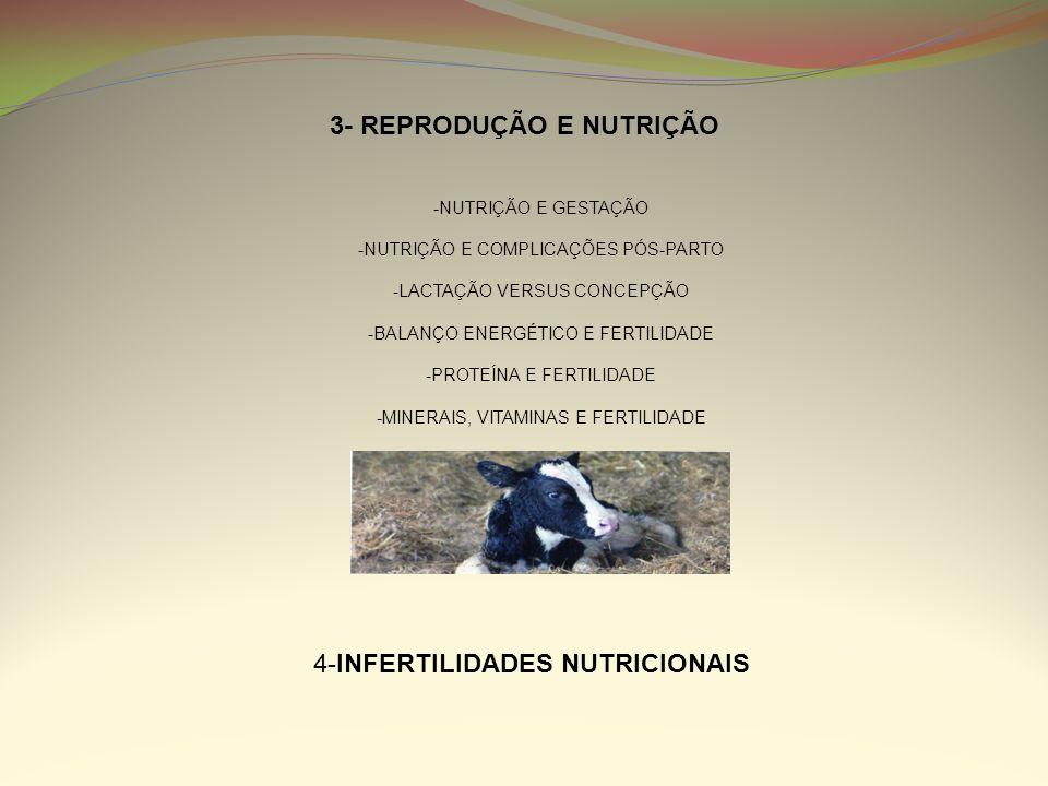 3- REPRODUÇÃO E NUTRIÇÃO -NUTRIÇÃO E GESTAÇÃO -NUTRIÇÃO E COMPLICAÇÕES PÓS-PARTO -LACTAÇÃO VERSUS CONCEPÇÃO -BALANÇO ENERGÉTICO E FERTILIDADE -PROTEÍN