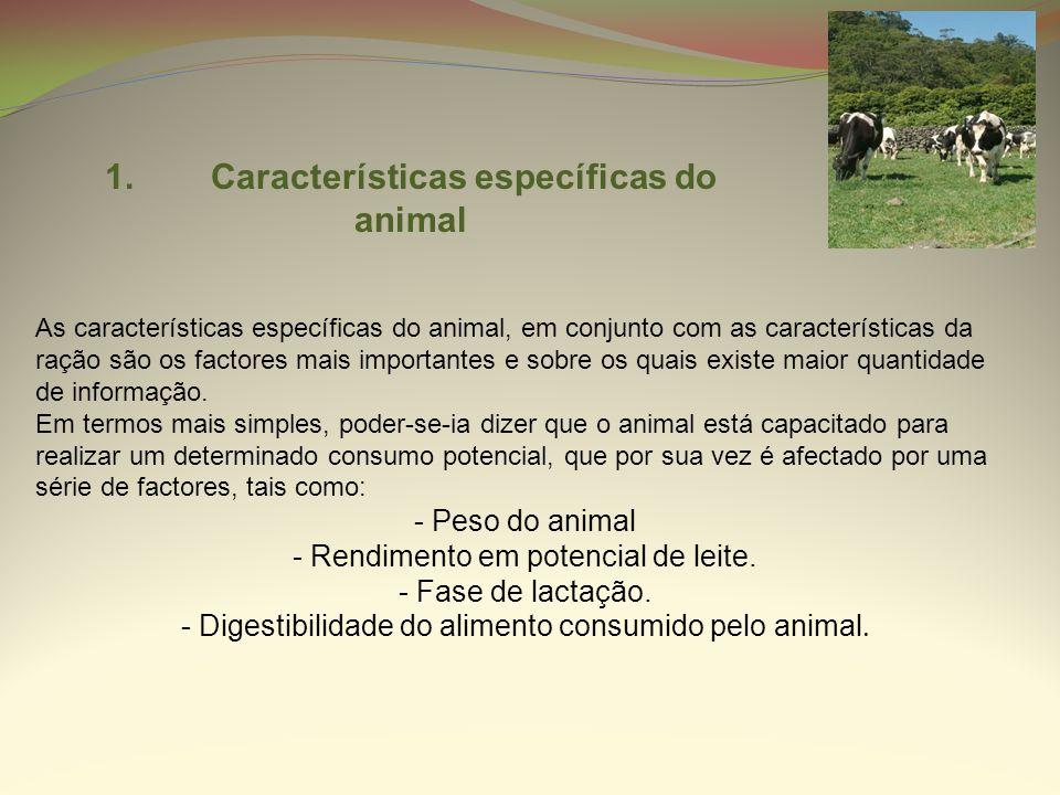 1.Características específicas do animal As características específicas do animal, em conjunto com as características da ração são os factores mais imp