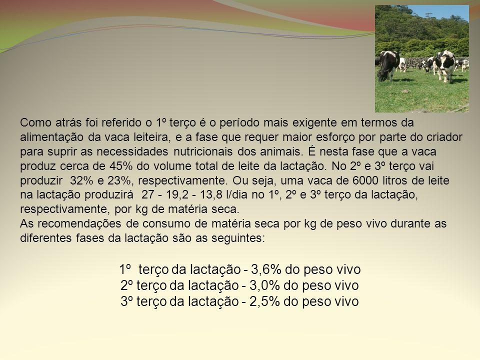 Como atrás foi referido o 1º terço é o período mais exigente em termos da alimentação da vaca leiteira, e a fase que requer maior esforço por parte do