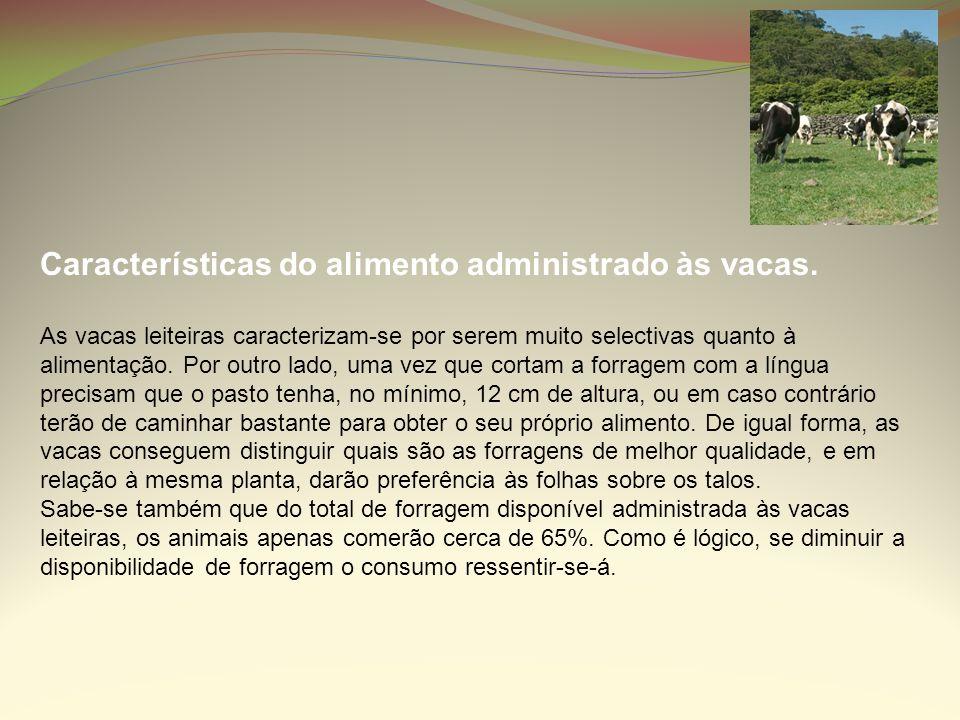 Características do alimento administrado às vacas. As vacas leiteiras caracterizam-se por serem muito selectivas quanto à alimentação. Por outro lado,