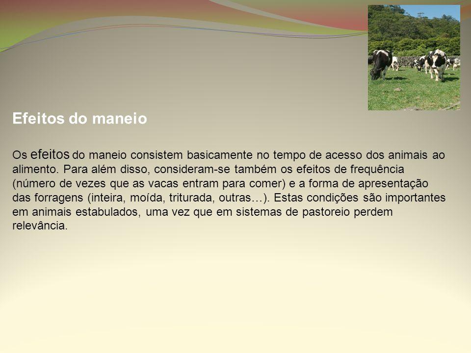 Efeitos do maneio Os efeitos do maneio consistem basicamente no tempo de acesso dos animais ao alimento. Para além disso, consideram-se também os efei
