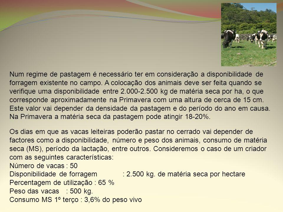 Num regime de pastagem é necessário ter em consideração a disponibilidade de forragem existente no campo. A colocação dos animais deve ser feita quand