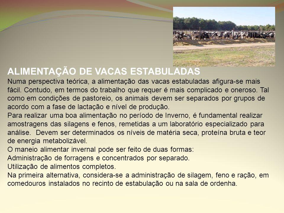 ALIMENTAÇÃO DE VACAS ESTABULADAS Numa perspectiva teórica, a alimentação das vacas estabuladas afigura-se mais fácil. Contudo, em termos do trabalho q