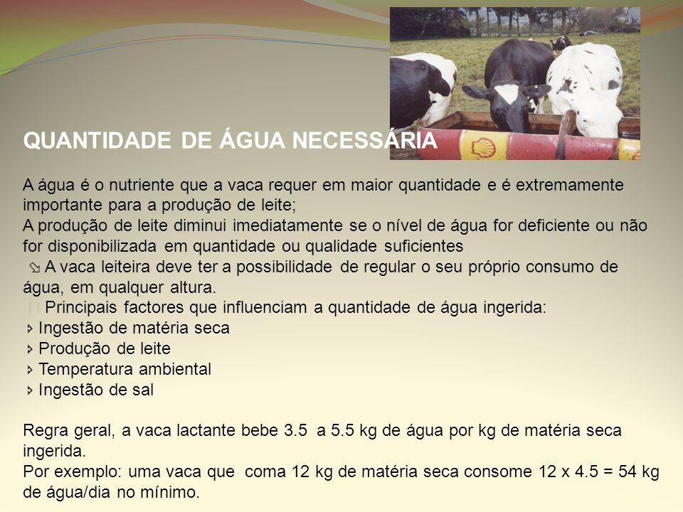 QUANTIDADE DE ÁGUA NECESSÁRIA A água é o nutriente que a vaca requer em maior quantidade e é extremamente importante para a produção de leite; A produ