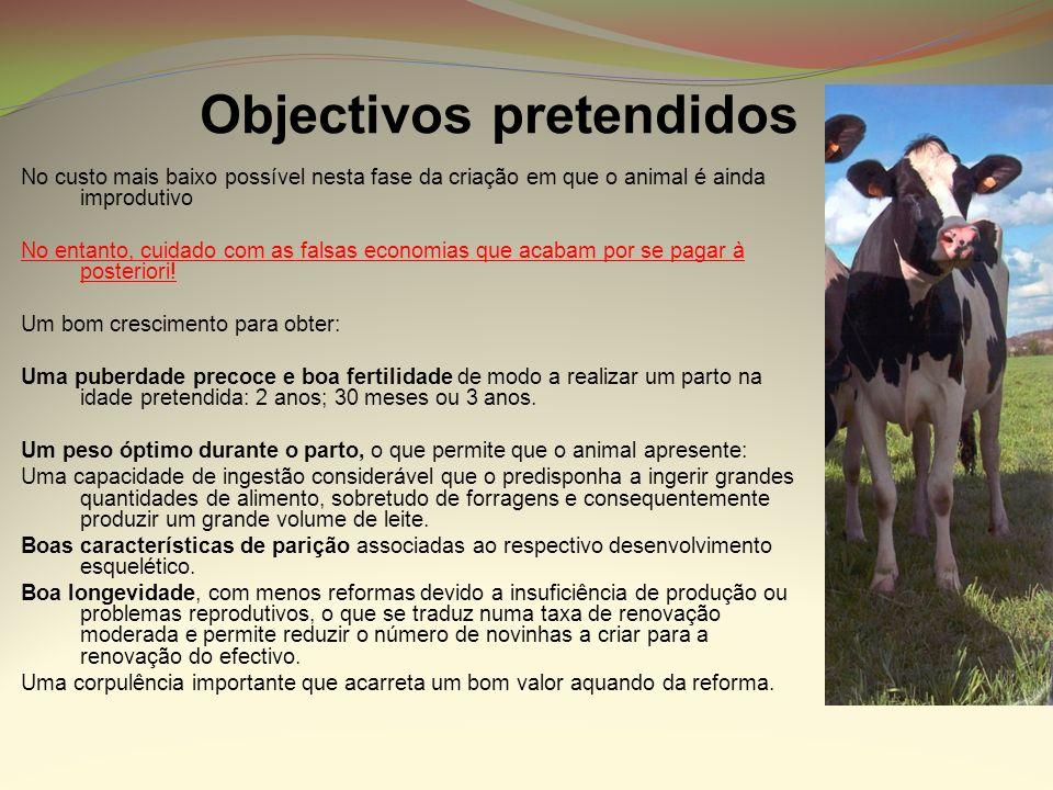 Objectivos pretendidos No custo mais baixo possível nesta fase da criação em que o animal é ainda improdutivo No entanto, cuidado com as falsas econom