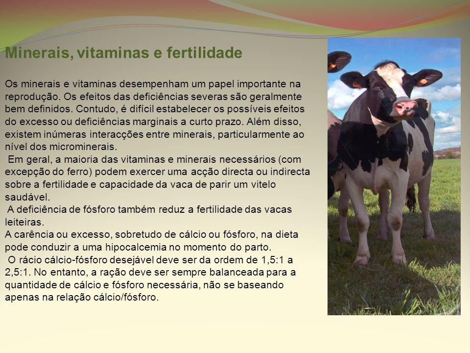 Minerais, vitaminas e fertilidade Os minerais e vitaminas desempenham um papel importante na reprodução. Os efeitos das deficiências severas são geral