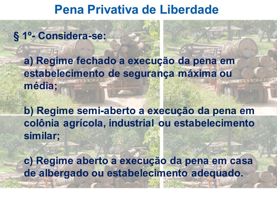 Pena Privativa de Liberdade § 1º- Considera-se: a) Regime fechado a execução da pena em estabelecimento de segurança máxima ou média; b) Regime semi-a