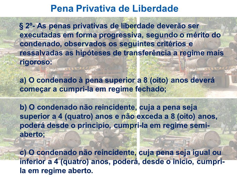 Pena Privativa de Liberdade § 2º- As penas privativas de liberdade deverão ser executadas em forma progressiva, segundo o mérito do condenado, observa