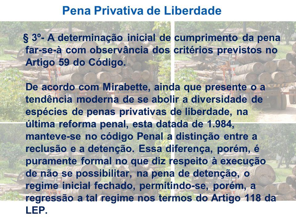 Pena Privativa de Liberdade § 3º- A determinação inicial de cumprimento da pena far-se-à com observância dos critérios previstos no Artigo 59 do Códig