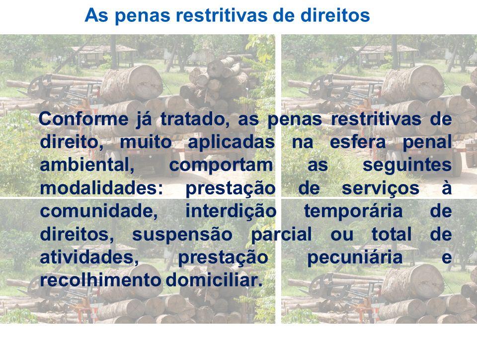 As penas restritivas de direitos Conforme já tratado, as penas restritivas de direito, muito aplicadas na esfera penal ambiental, comportam as seguint