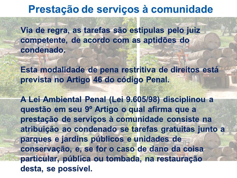 Prestação de serviços à comunidade Via de regra, as tarefas são estipulas pelo juiz competente, de acordo com as aptidões do condenado. Esta modalidad