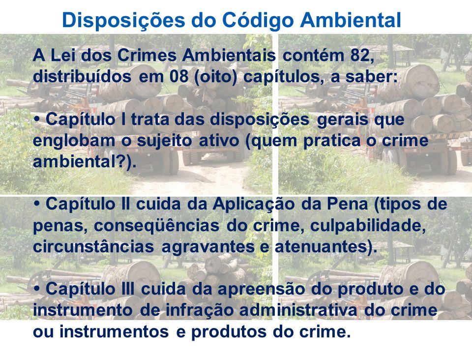 Disposições do Código Ambiental A Lei dos Crimes Ambientais contém 82, distribuídos em 08 (oito) capítulos, a saber: Capítulo I trata das disposições