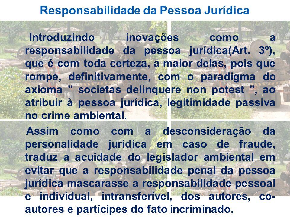 Responsabilidade da Pessoa Jurídica Introduzindo inovações como a responsabilidade da pessoa jurídica(Art. 3º), que é com toda certeza, a maior delas,