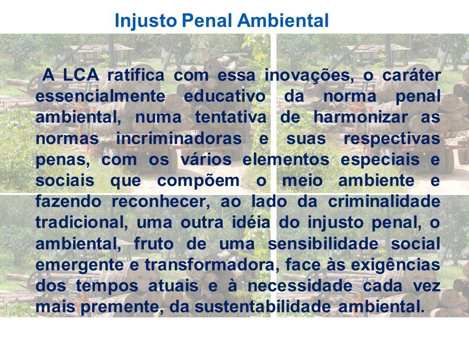 Injusto Penal Ambiental A LCA ratifica com essa inovações, o caráter essencialmente educativo da norma penal ambiental, numa tentativa de harmonizar a