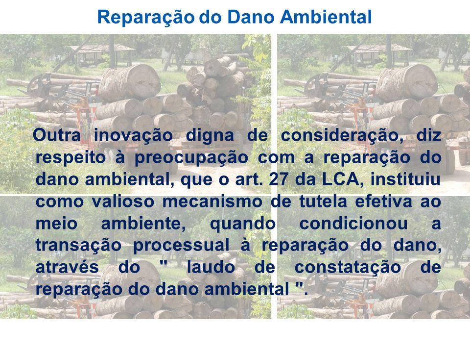 Reparação do Dano Ambiental Outra inovação digna de consideração, diz respeito à preocupação com a reparação do dano ambiental, que o art. 27 da LCA,
