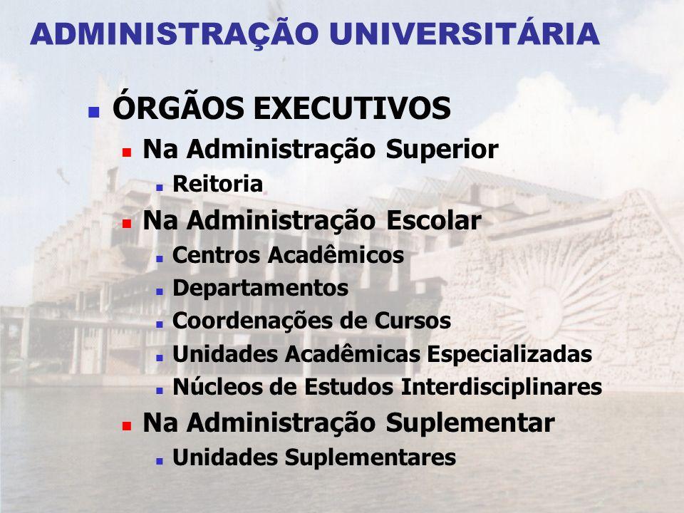 ADMINISTRAÇÃO UNIVERSITÁRIA ÓRGÃOS EXECUTIVOS Na Administração Superior Reitoria Na Administração Escolar Centros Acadêmicos Departamentos Coordenaçõe