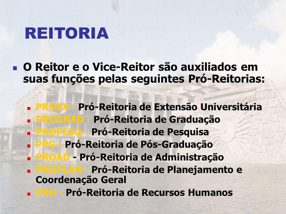 REITORIA O Reitor e o Vice-Reitor são auxiliados em suas funções pelas seguintes Pró-Reitorias: PROEX - Pró-Reitoria de Extensão Universitária PROGRAD