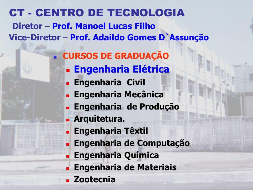 CT - CENTRO DE TECNOLOGIA Diretor – Prof. Manoel Lucas Filho Vice-Diretor – Prof. Adaildo Gomes D`Assunção CURSOS DE GRADUAÇÃO Engenharia Elétrica Eng
