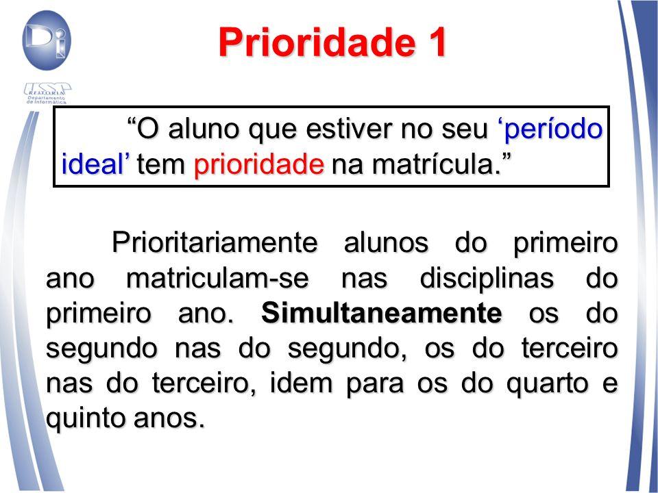 Prioridade 1 Prioritariamente alunos do primeiro ano matriculam-se nas disciplinas do primeiro ano. Simultaneamente os do segundo nas do segundo, os d