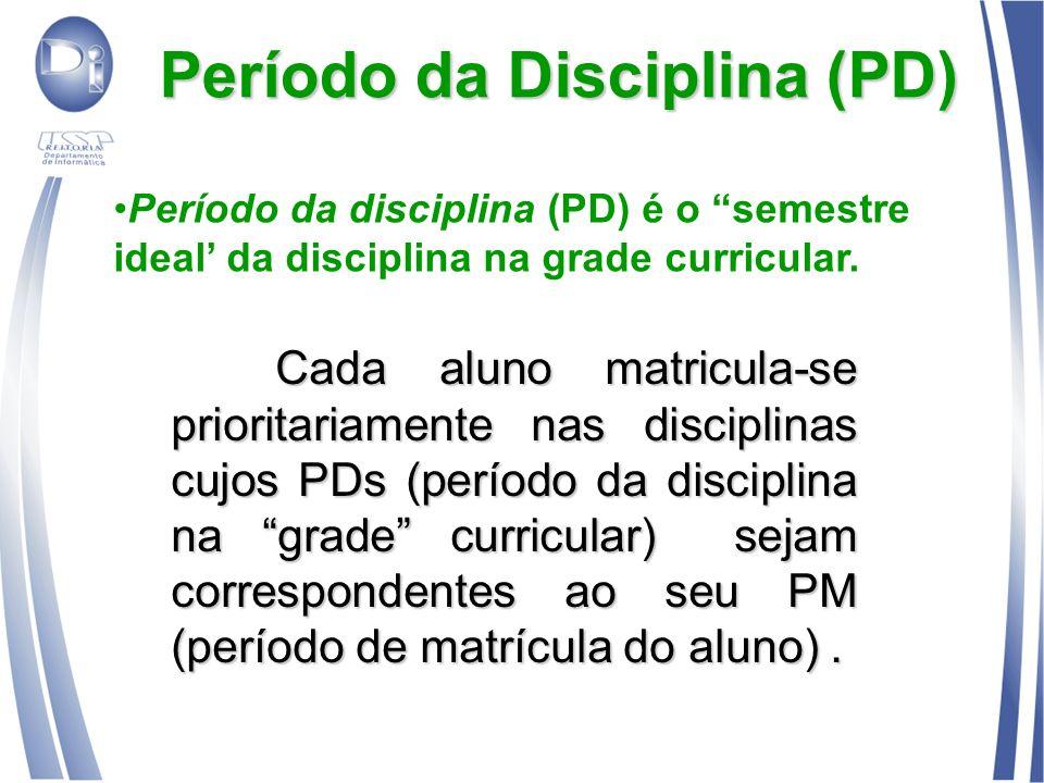 Período da Disciplina (PD) Cada aluno matricula-se prioritariamente nas disciplinas cujos PDs (período da disciplina na grade curricular) sejam corres