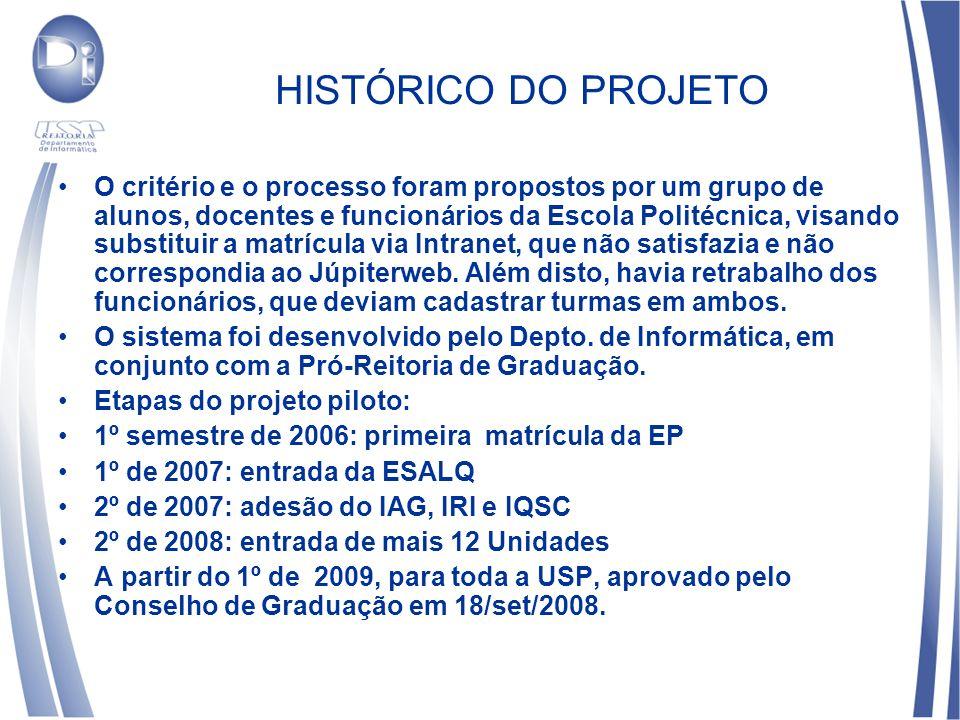 HISTÓRICO DO PROJETO O critério e o processo foram propostos por um grupo de alunos, docentes e funcionários da Escola Politécnica, visando substituir