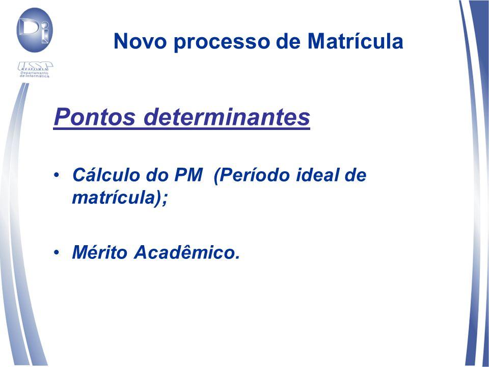 Novo processo de Matrícula Pontos determinantes Cálculo do PM (Período ideal de matrícula); Mérito Acadêmico.