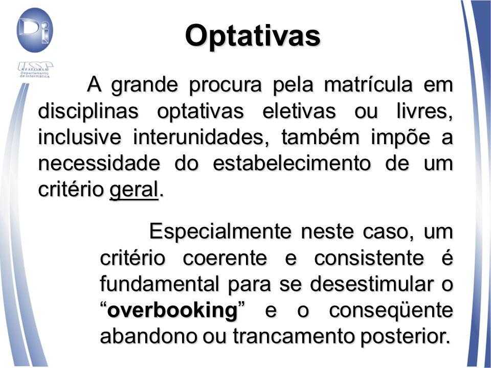 Optativas A grande procura pela matrícula em disciplinas optativas eletivas ou livres, inclusive interunidades, também impõe a necessidade do estabele