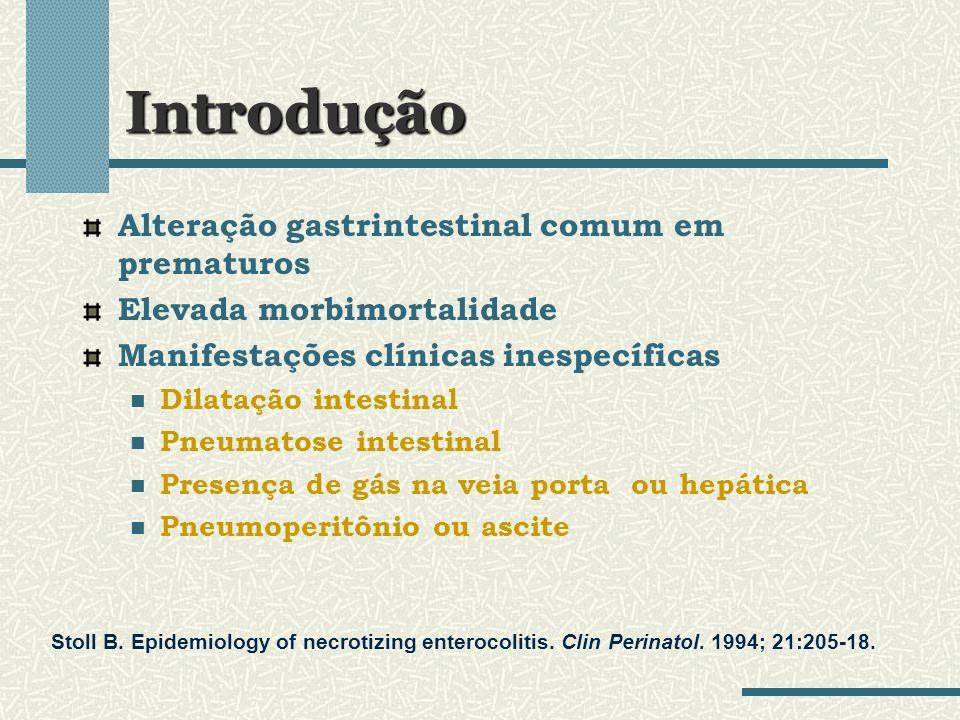 Introdução Alteração gastrintestinal comum em prematuros Elevada morbimortalidade Manifestações clínicas inespecíficas Dilatação intestinal Pneumatose