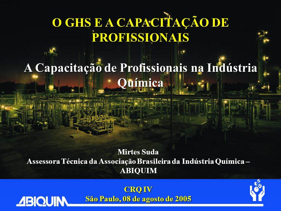 O GHS E A CAPACITAÇÃO DE PROFISSIONAIS A Capacitação de Profissionais na Indústria Química Mirtes Suda Assessora Técnica da Associação Brasileira da I