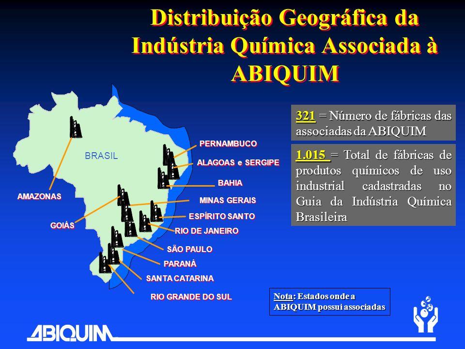 Distribuição Geográfica da Indústria Química Associada à ABIQUIM BAHIA RIO DE JANEIRO SÃO PAULO RIO GRANDE DO SUL BRASIL ALAGOAS e SERGIPE 321 = Númer